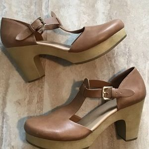 🆕 Old Navy Mary Jane Clog T-Strap Cognac Sz 10M